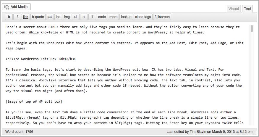 The Text tab in the WordPress editor
