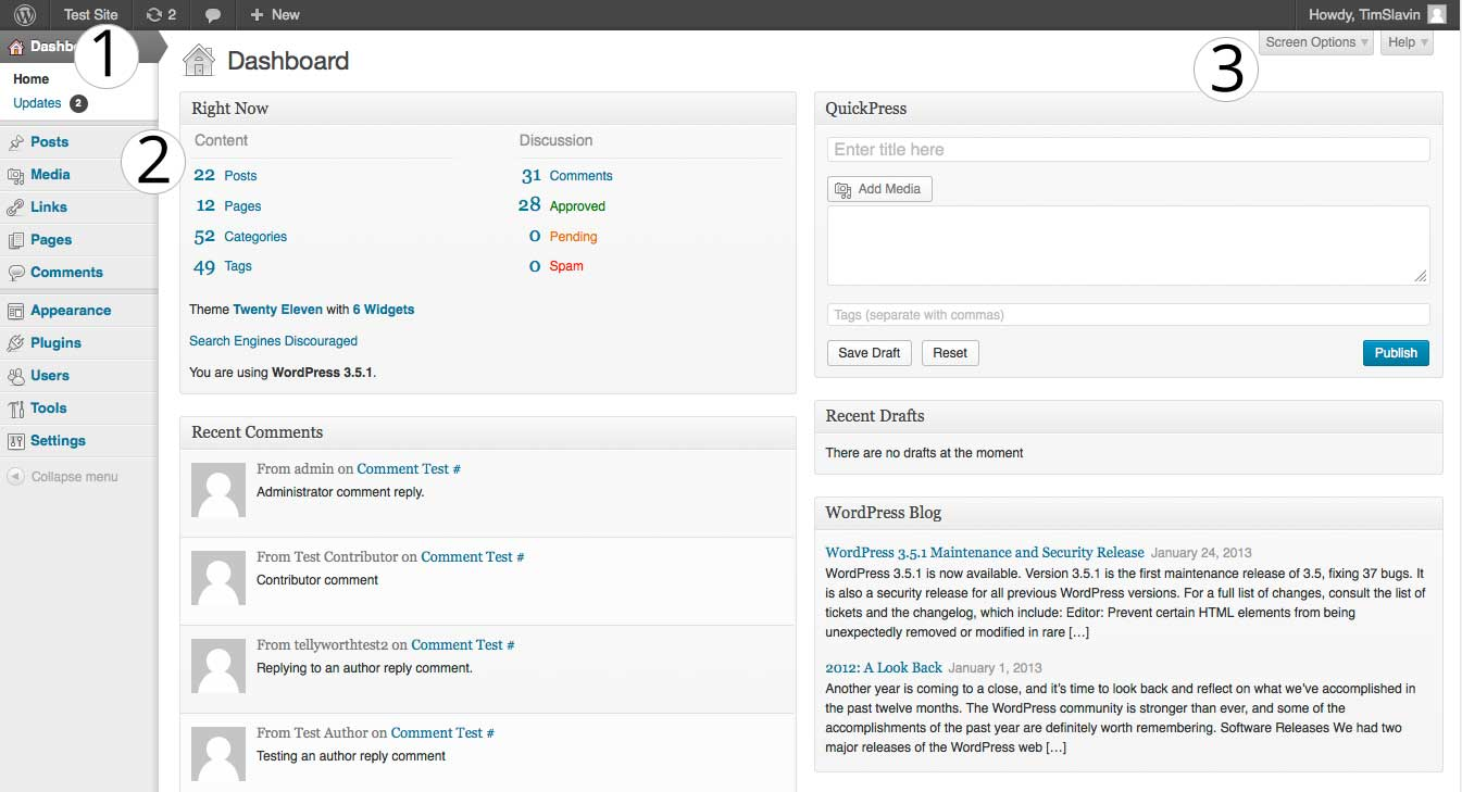 The WordPress Site Admin Page