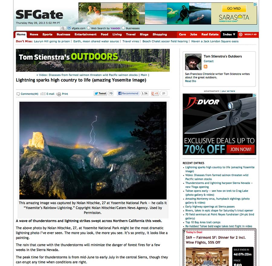 content detail page screen from SFGate.com as an example of the website detail page design pattern
