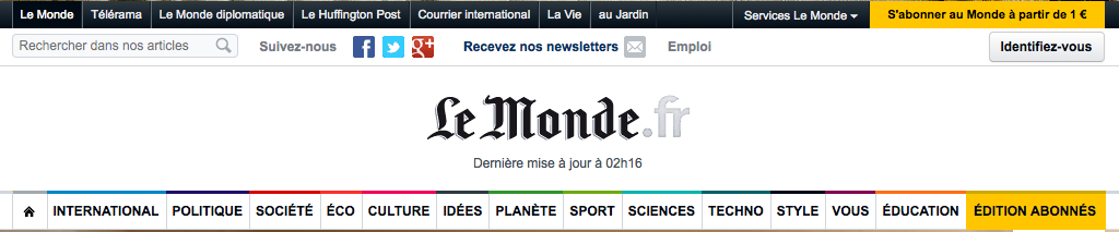 Example of header design pattern on Le Monde website