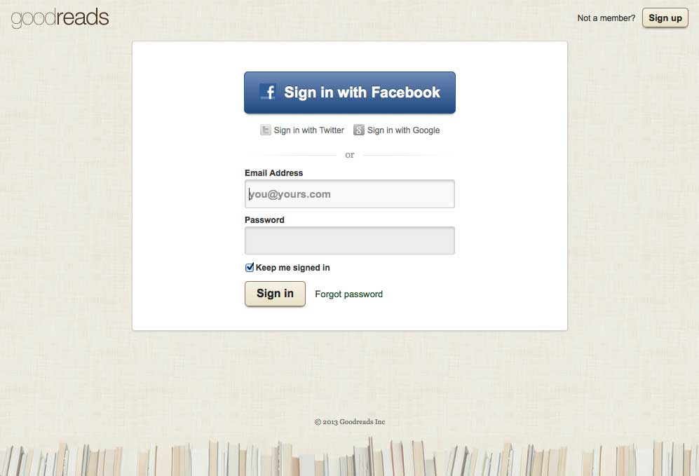 login screen from GoodReads.com as an example of the login design pattern