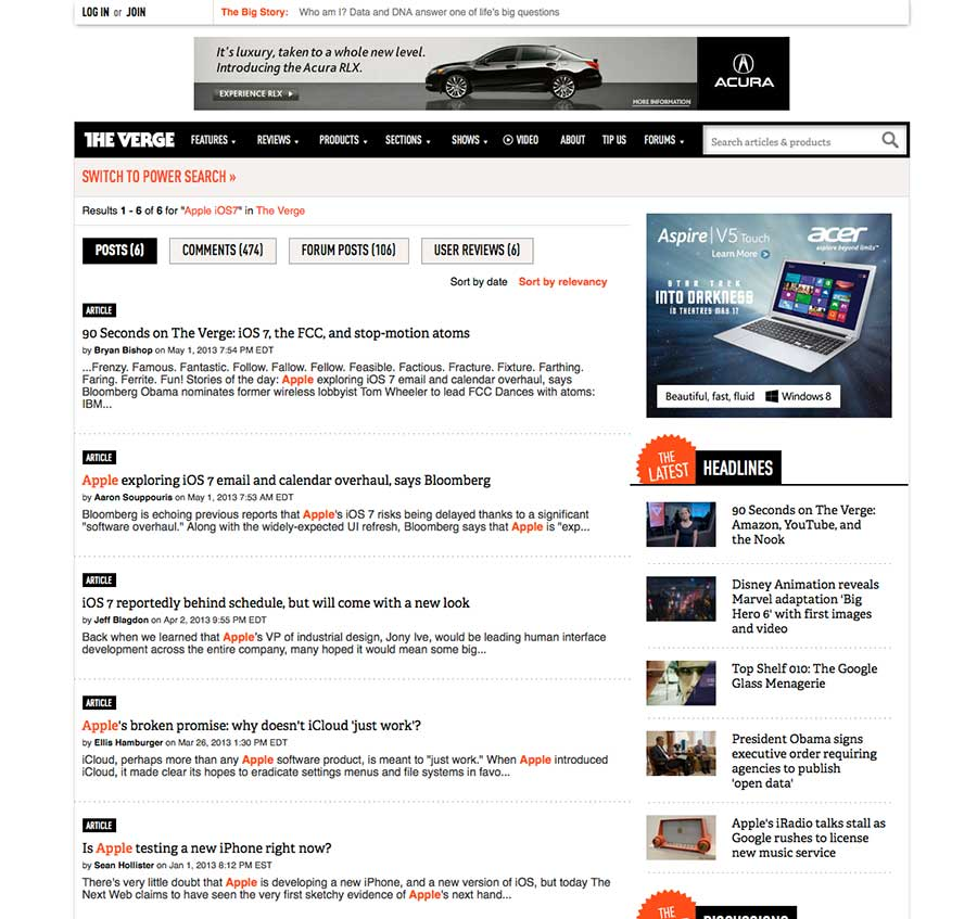 search page results screen from TheVerge.com as an example of the website search page design pattern