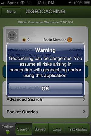 Warning: Geocaching can be dangeros