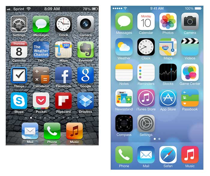 iOS6 and iOS7 Home Page Designs