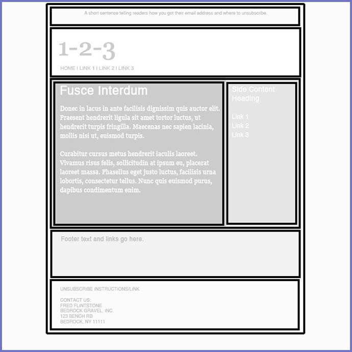 A basic email design with grids