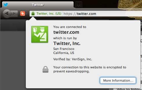 Twitter SSL Certificate Popup