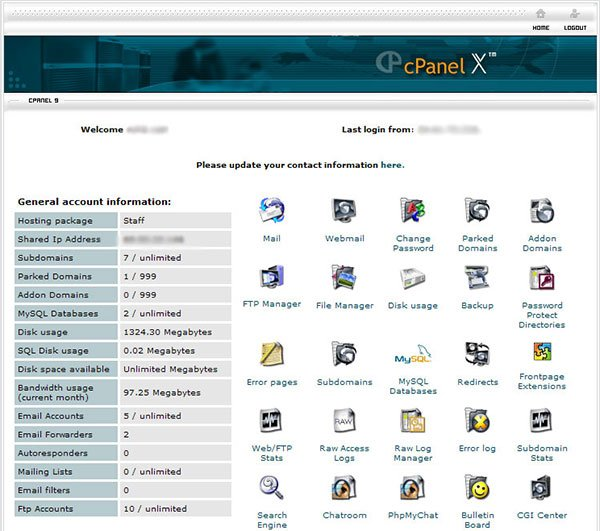CPanel Screen with Lots of Icons