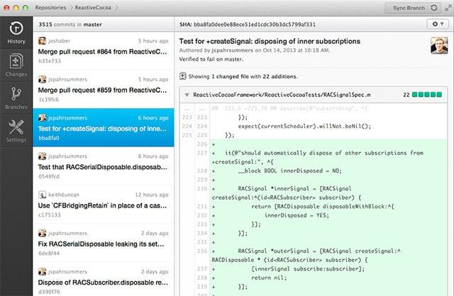 Sample screen shot of Github software app