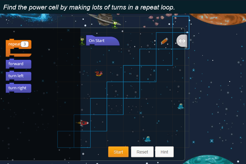 Notebook-Tynker-Lost-in-Space-level-17-making-turns-repeat-loop
